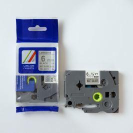 Utángyártott szalag Brother TZ-M911 / TZe-M911, 6mm x 8m, fekete nyomtatás / ezüst alapon