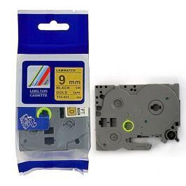 Utángyártott szalag Brother TZ-821 / TZe-821, 9mm x 8m, fekete nyomtatás / arany alapon