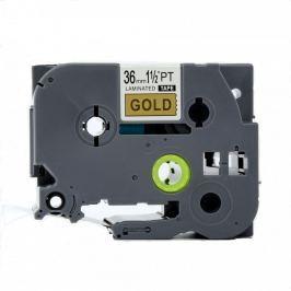 Utángyártott szalag Brother TZ-861 / TZe-861, 36mm x 8m, fekete nyomtatás / arany alapon
