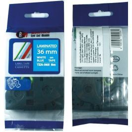 Utángyártott szalag Brother TZ-565 / TZe-565, 36mm x 8m, fehér nyomtatás / kék alapon