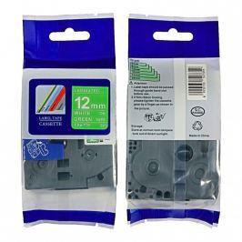 Utángyártott szalag Brother TZ-735 / TZe-735, 12mm x 8m, fehér nyomtatás / zöld alapon