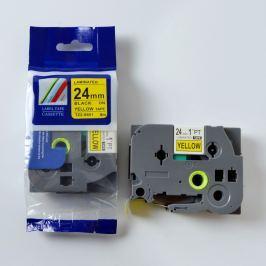Utángyártott szalag Brother TZ-S651/TZe-S651 24mm x 8m erősen ragadó, fekete nyomtatás/sárga alapon
