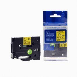 Utángyártott szalag Brother TZ-621 / TZe-621, 9mm x 8m, fekete nyomtatás / sárga alapon Utángyártott szalagok