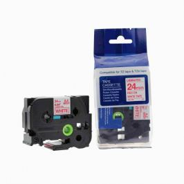 Utángyártott szalag Brother TZ-252 / TZe-252, 24mm x 8m, piros nyomtatás / fehér alapon