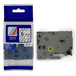 Utángyártott szalag Brother TZ-111 / TZe-111, 6mm x 8m, fekete nyomtatás / átlátszó alapon