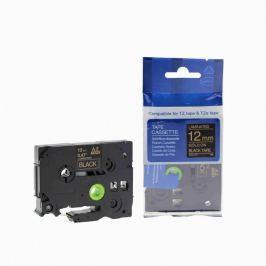 Utángyártott szalag Brother TZ-334 / TZe-334, 12mm x 8m, arany nyomtatás / fekete alapon