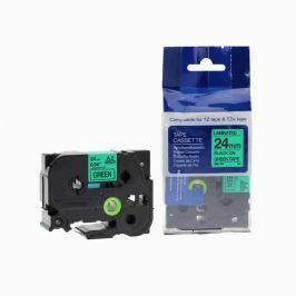 Utángyártott szalag Brother TZ-751 / TZe-751, 24mm x 8m, fekete nyomtatás / zöld alapon