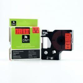 Utángyártott szalag Dymo 40917, S0720720, 9mm x 7m fekete nyomtatás / piros alapon