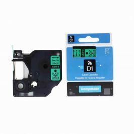 Utángyártott szalag Dymo 40919, S0720740, 9mm x 7m fekete nyomtatás / zöld alapon