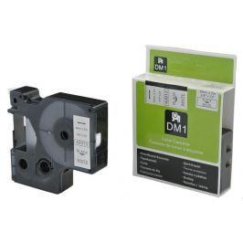 Utángyártott szalag Dymo 40913, S0720680, 9mm x 7m fekete nyomtatás / fehér alapon