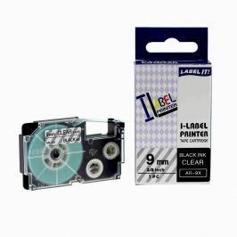 Utángyártott szalag Casio XR-9X1, 9mm x 8m fekete nyomtatás / átlátszó alapon