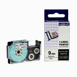 Utángyártott szalag Casio XR-9WE1, 9mm x 8m fekete nyomtatás / fehér alapon