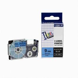 Utángyártott szalag Casio XR-9BU1, 9mm x 8m fekete nyomtatás / kék alapon