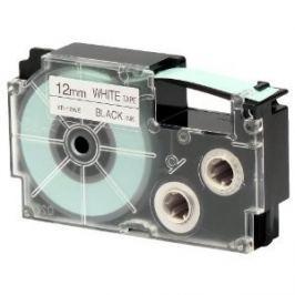 Utángyártott szalag Casio XR-12WE1, 12mm x 8m fekete nyomtatás / fehér alapon