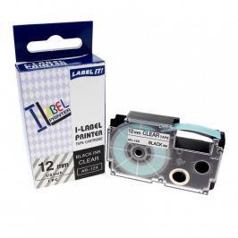 Utángyártott szalag Casio XR-12X1, 12mm x 8m fekete nyomtatás / átlátszó alapon