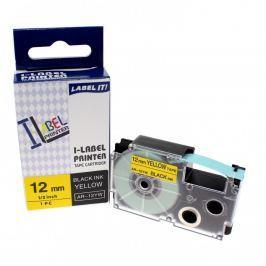 Utángyártott szalag Casio XR-12YW1, 12mm x 8m fekete nyomtatás / sárga alapon