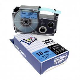 Utángyártott szalag Casio XR-18BU1, 18mm x 8m fekete nyomtatás / kék alapon