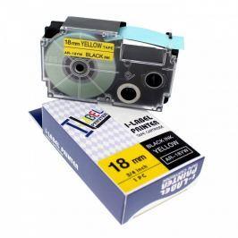 Utángyártott szalag Casio XR-18YW1, 18mm x 8m fekete nyomtatás / sárga alapon