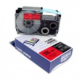Utángyártott szalag Casio XR-18RD1, 18mm x 8m fekete nyomtatás / piros alapon Utángyártott szalagok