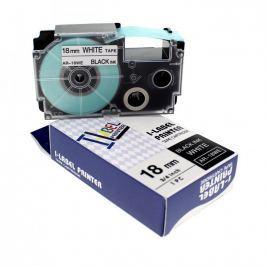 Utángyártott szalag Casio XR-18WE1, 18mm x 8m fekete nyomtatás / fehér alapon