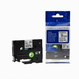 Utángyártott szalag Brother TZ-FX221/TZe-FX221, 9mm x 8m, flexi, fekete nyomtatás / fehér alapon