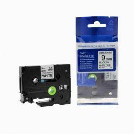 Utángyártott szalag Brother TZ-S221/TZe-S221 9mm x 8m erősen ragadó, fekete nyomtatás / fehér alapon