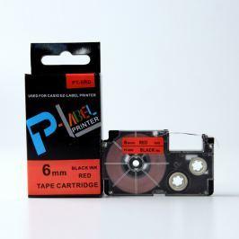 Utángyártott szalag Casio XR-6RD1, 6mm x 8m fekete nyomtatás / piros alapon