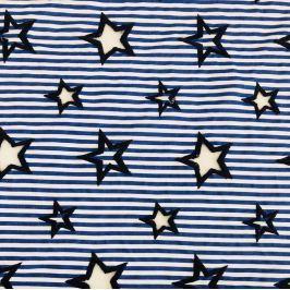Pamutvászon Embroidery Stars cobalt