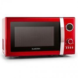 Klarstein Fine Dinesty, 1000 W, 23 l, 2 az 1-ben mikrohullámú sütő, retro, 12 program, piros