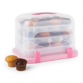 Klarstein Pinkkäppchen XL, rózsaszín, süteményes doboz, muffin tartó, 36 db, 34,5 x 25 x 25,5 cm