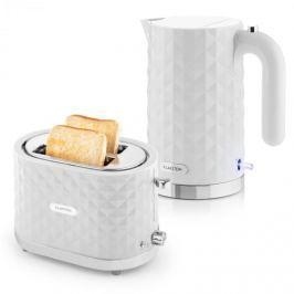 Klarstein Granada Bianca, fehér, reggeliző készlet, 2200 W gyorsforraló + 1000 W kenyérpirító