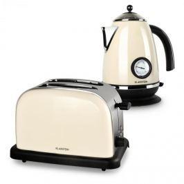 Klarstein Aquavita Creme, krémszínű, reggeliző készlet, 2200 W gyorsforraló + 1000 W kenyérpirító