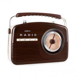 FM/MW rádió OneConcept NR-12, retro, barna/krémszínű