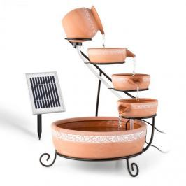 Blumfeldt Empoli, vízeséses szökőkút, terrakotta, 5 szint, 200 l/h, napelemes, 2 W, LED