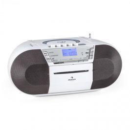 Auna Jetpack, fehér, hordozható boombox, USB, CD, MP3, FM, elemekkel üzemeltethető