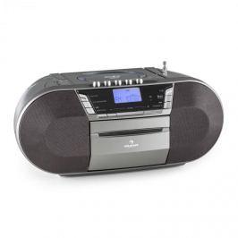 Auna Jetpack, szürke, hordozható boombox, USB, CD, MP3, FM, elemekkel üzemeltethető