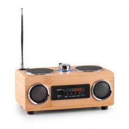 OneConcept Bamboost 3G, bambusz hangszóró, FM, USB, microSD, AUX, akkumulátor