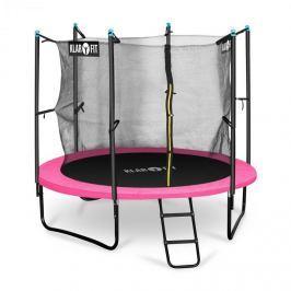 Klarfit Rocketgirl 250, 250 cm trambulin, belső biztonsági háló, széles létra, rózsaszín