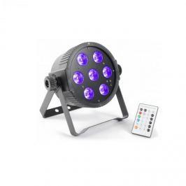 Beamz FlatPAR, 7 x 18 W, 6 az 1-ben hex color RGBAWUV-LED, DMX IR, távirányító mellékelve