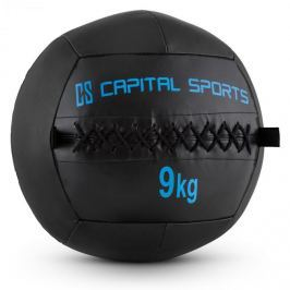 CAPITAL SPORTS Wallba 9, 9kg, fekete, Wall Ball (medicinlabda) műbőr