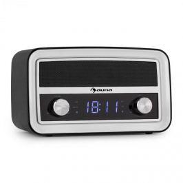 Auna Caprice WH retro rádiós ébresztőóra, Bluetooth, FM, USB, AUX, fekete