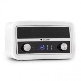 Auna Caprice WH retro rádiós ébresztőóra, Bluetooth, FM, USB, AUX, fehér