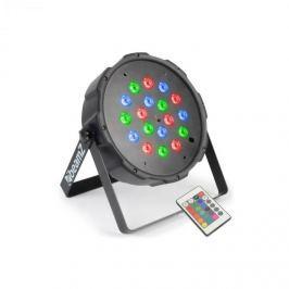 Beamz FlatPAR, 18 x 1 W, PAR reflektor, RGB LED, DMX, IR, távirányító mellékelve