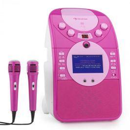 Auna ScreenStar karaoke rendszer, kamera, CD, USB, SD, MP3, 2 mikrofon, rózsaszín