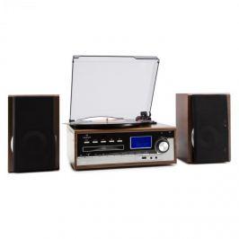 Auna Deerwood sztereó rendszer, lemezjátszó, USB, MP3 kódolás, CD, kazetta, FM, AUX