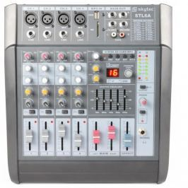 Skytec STL6A, aktív 6 csatornás keverőpult, 600 W, erősítő, USB, SD, MP3, EQ, FX, +48 V