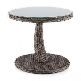 Blumfeldt Tabula, kétszínű, tópszínű, kisasztal, 50 cm, üveg, polirattan, alumínium