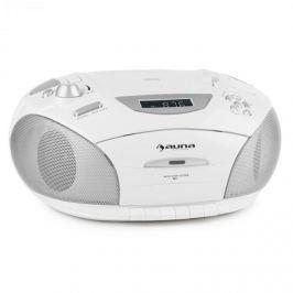 Auna RCD 220, fehér, boombox, CD, USB, kazettás magnetofon, PLL FM rádió, MP3, 2 x 2 W
