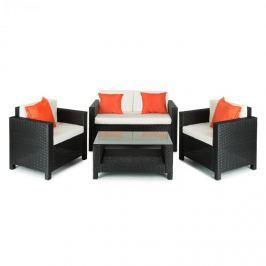 Blumfeldt Verona kerti bútor, ülőgarnitúra, 4 részes, polyrattan, fekete/bézs/narancssárga