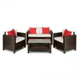 Blumfeldt Verona kerti bútor, ülőgarnitúra, 4 részes, polyrattan, barna/bézs/piros